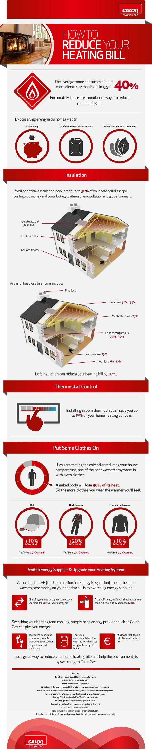 Tips to Help Save Heating Costs Infographic