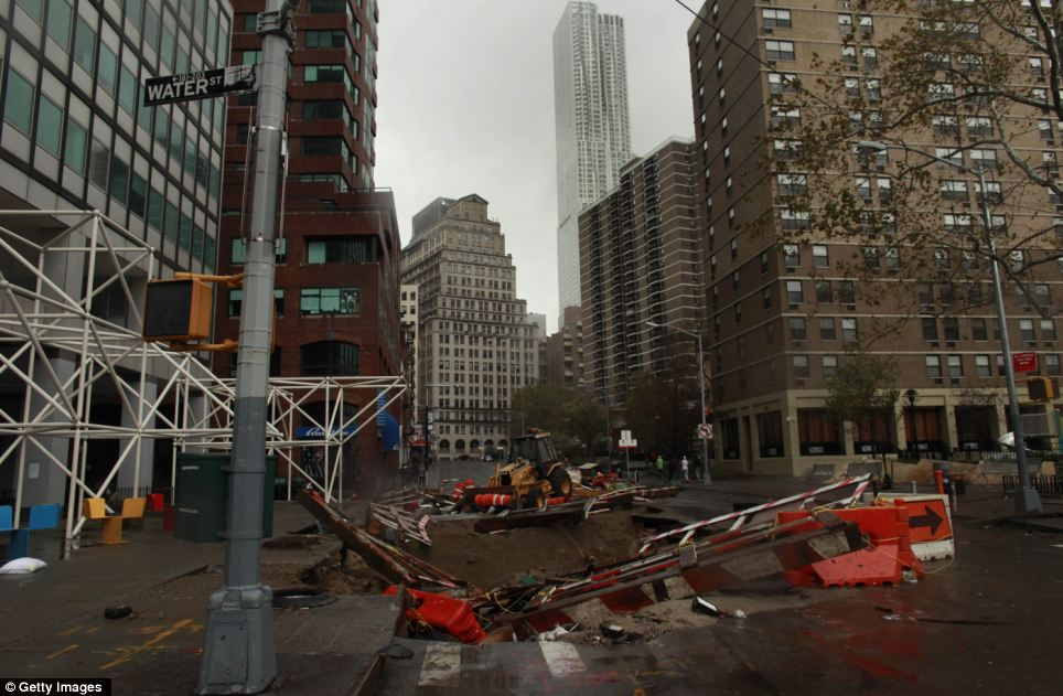 Super Storm Hurricane Sandy South Street Seaport New York