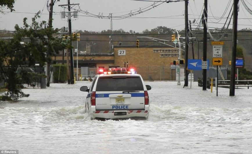 Super Storm Hurricane Sandy Teterboro Airport in New Jersey