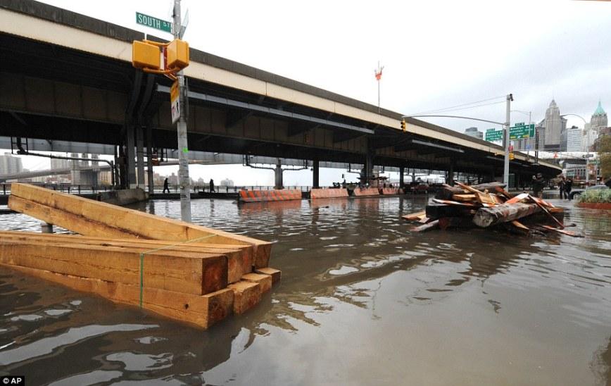Super Storm Hurricane Sandy in Lower Manhattan New York
