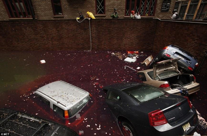 Super Storm Hurricane Sandy in lower manhattan