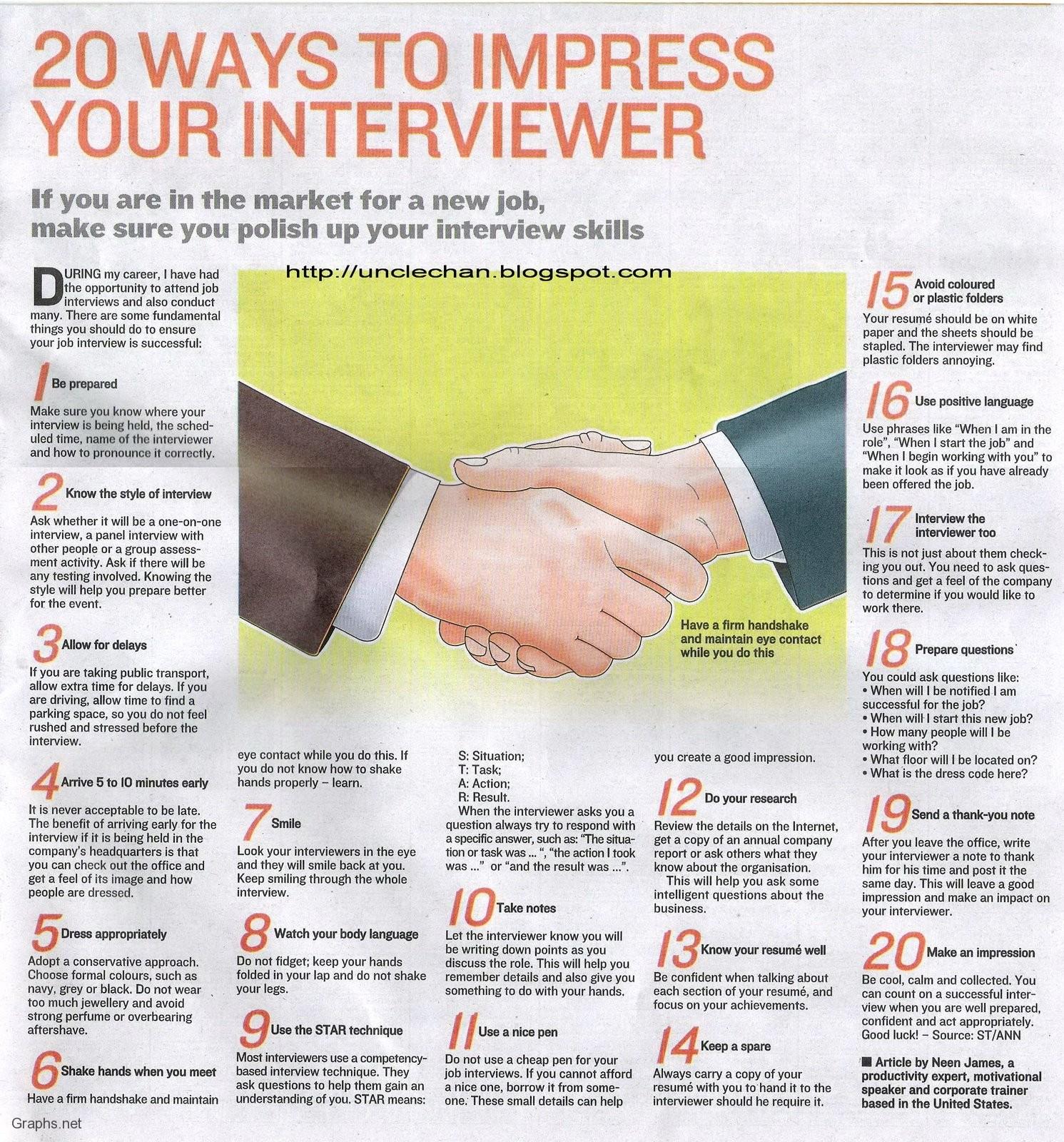 Top 20 Ways To Impress Interviewers