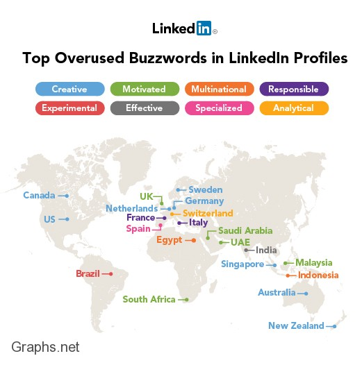 Top Buzz Words in LinkedIn Profiles 2012