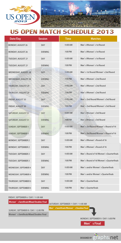 US Open Match Schedule 2013