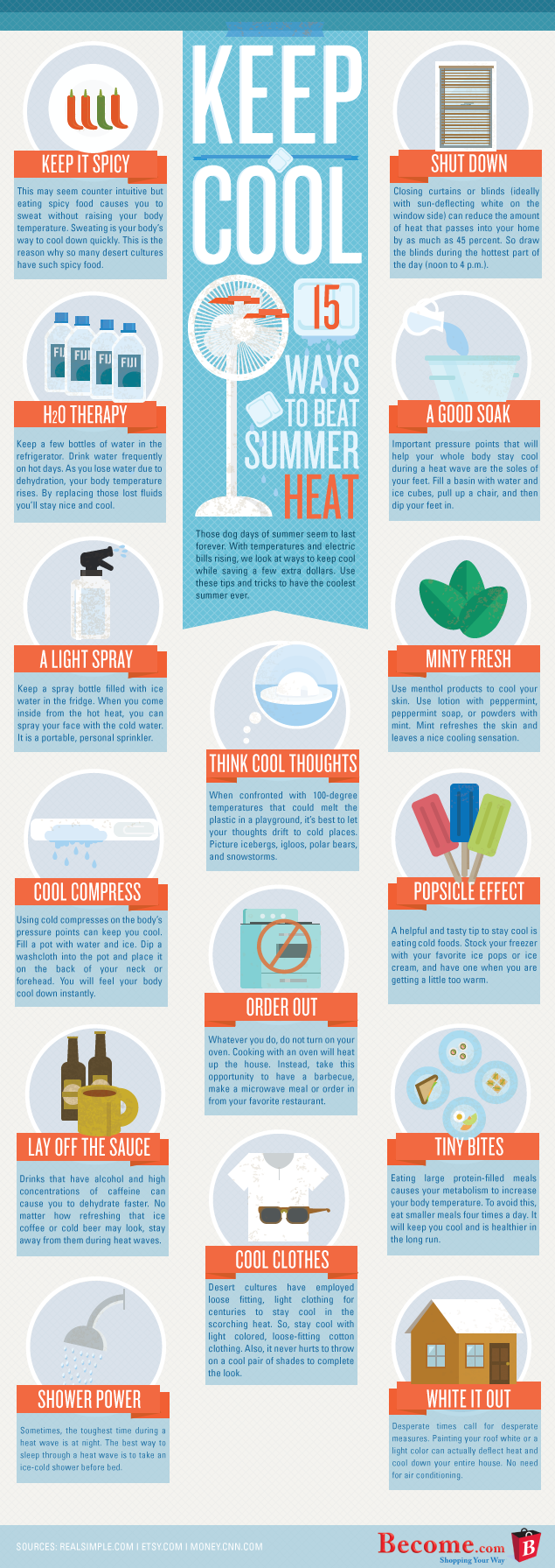 15 ways to keep cool in summer infographics. Black Bedroom Furniture Sets. Home Design Ideas
