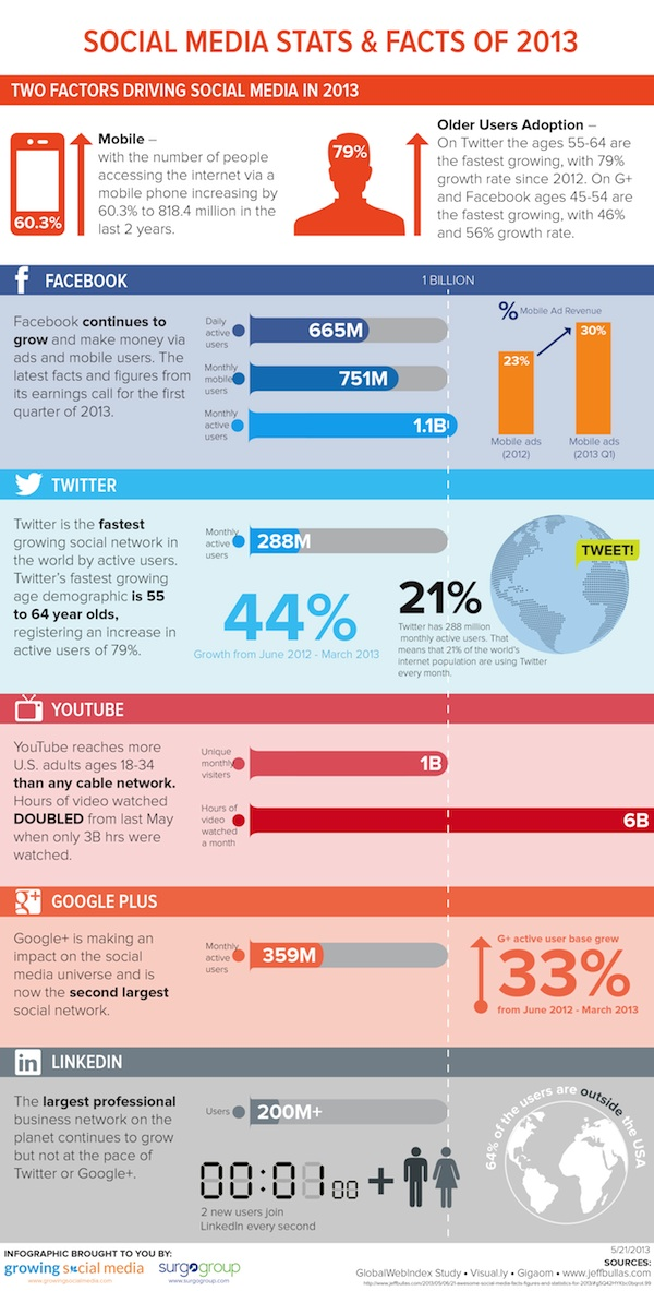 Social media statistics for the year 2013