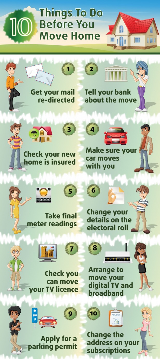 10 things to do before moving to new home infographics. Black Bedroom Furniture Sets. Home Design Ideas