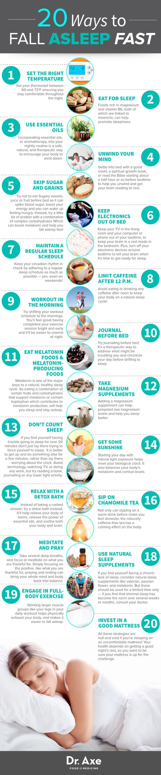 fall a sleep fast infographic