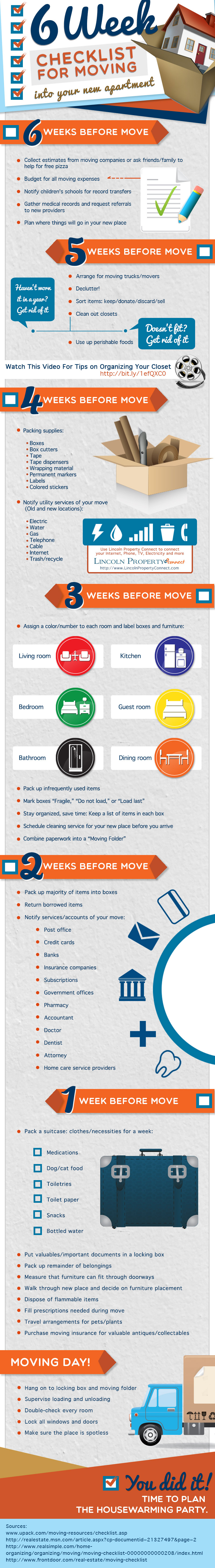 6week checklist moving your new apartment
