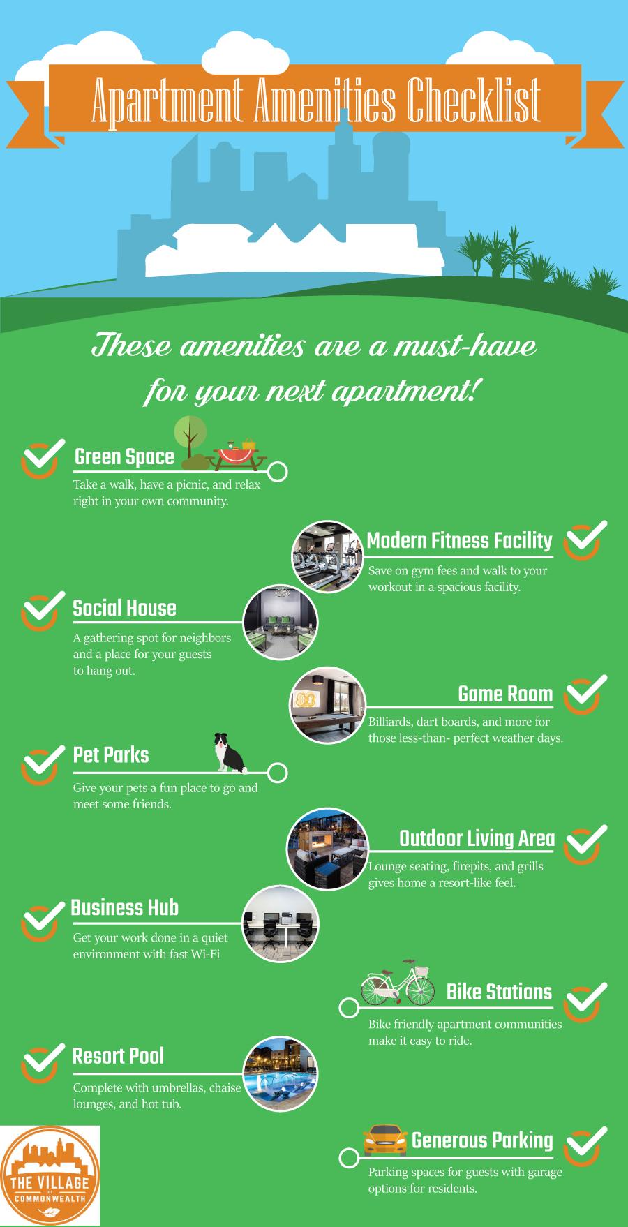 Apartment Amenities Checklist Infographic