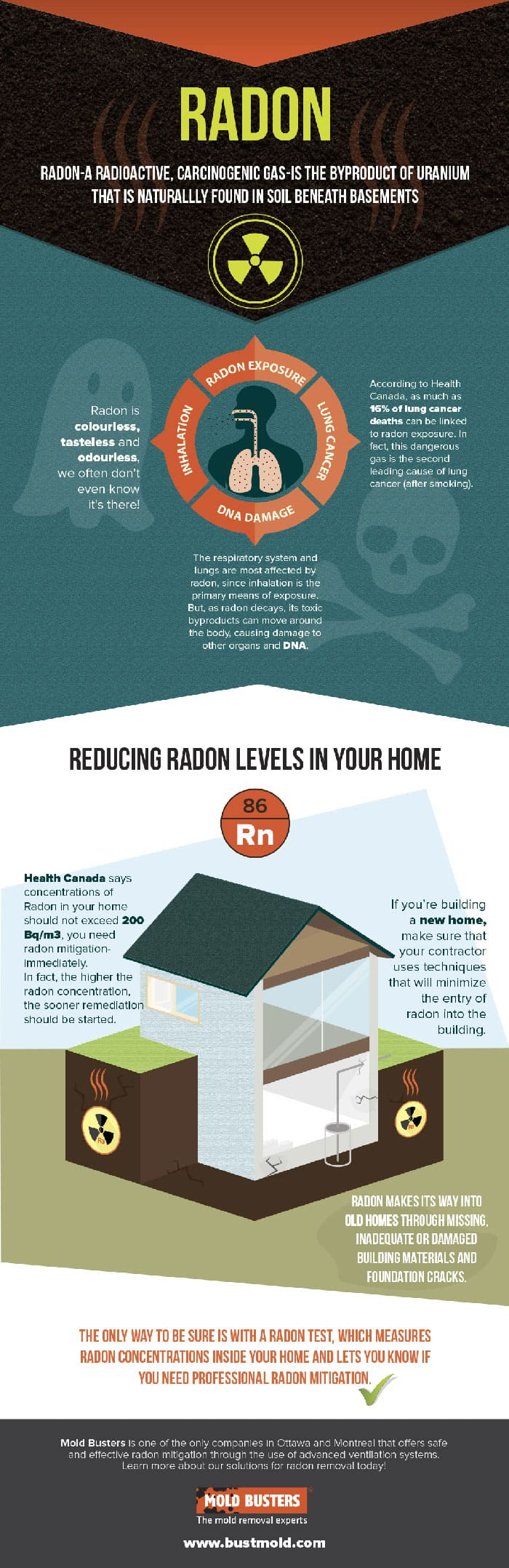 Radon Gas and its control in your Home Infographic