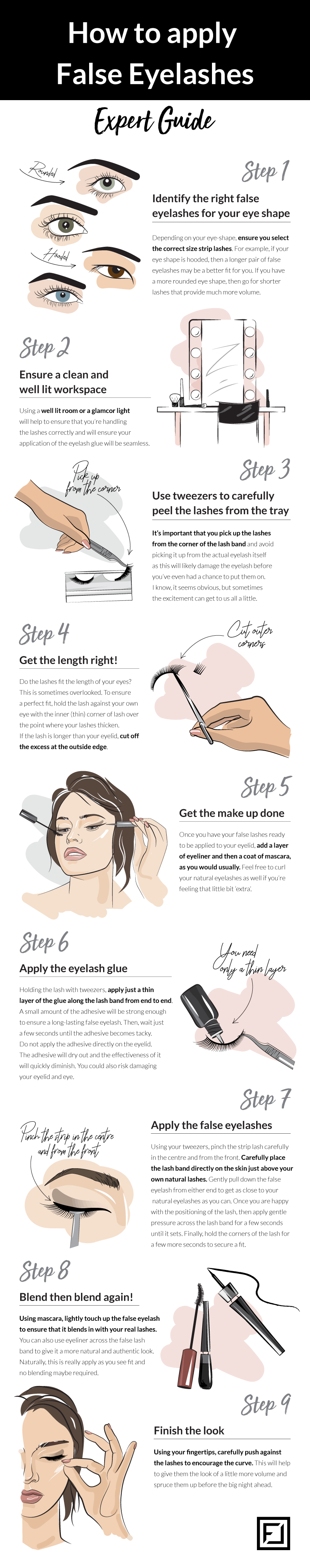 How to Apply False Eyelashes Infographic