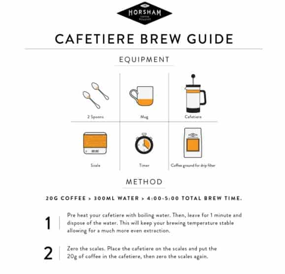 Cafetiere Coffee Brew Guide infographic
