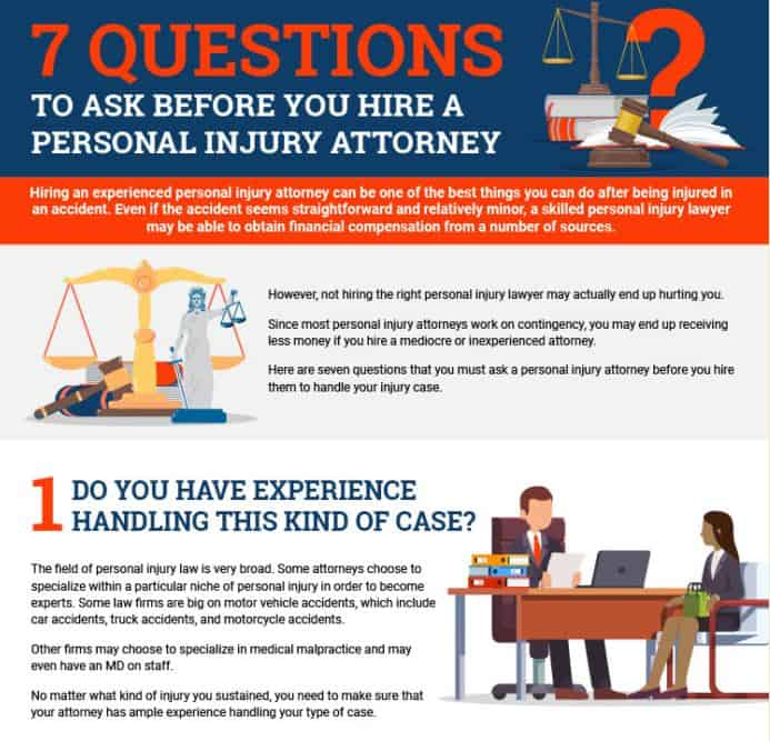 7 Questions to Ask Before You Hire a Personal Injury Attorney infographic