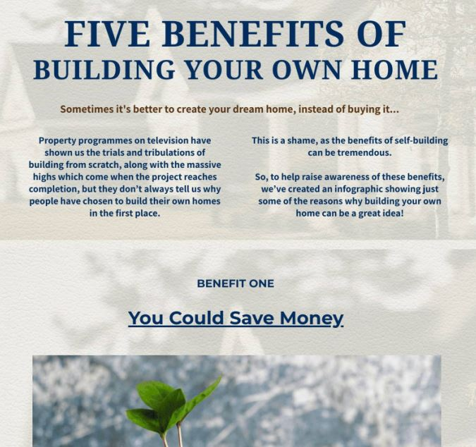 5 Benefits Of Building Your Own Home infographic
