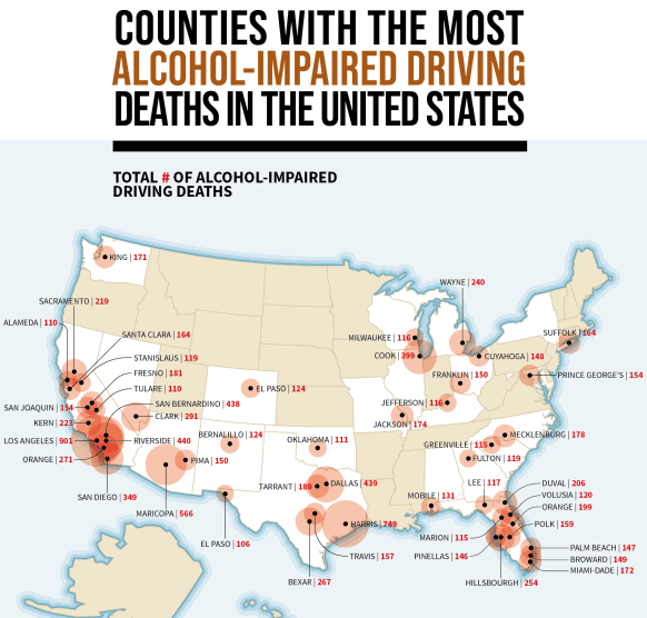 The U.S. Counties With the Most Drunk Driving Deaths infographic