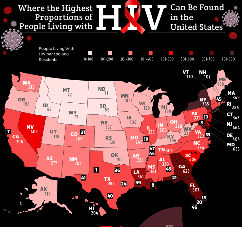 Where the Most People Living With HIV Are in the United States infographic