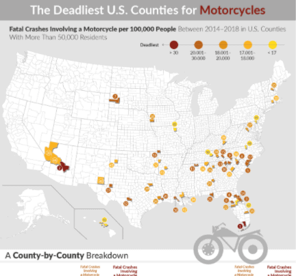 Deadliest Counties for Motorcycles infographic