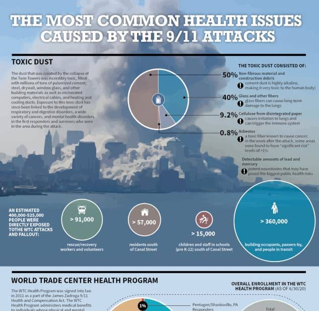 The Most Common Health Issues Caused by the 9 11 Attacks infographic