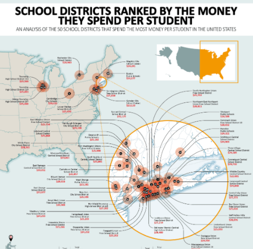 School Districts That Spend the Most Money Per Student infographic