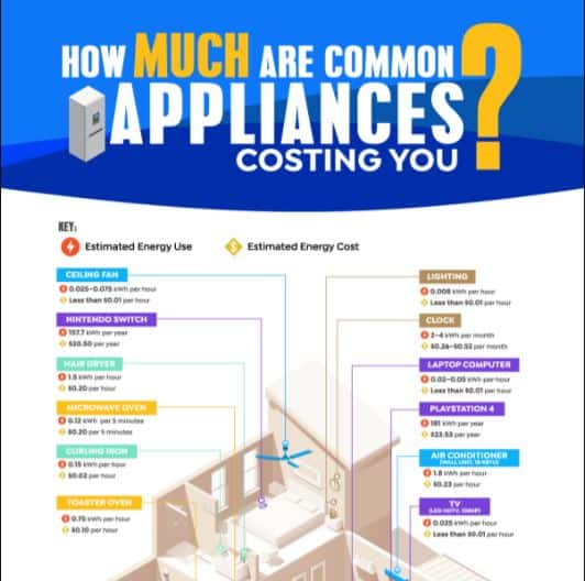 This Chart Shows How Much Common Appliances Cost You Per Year infographic