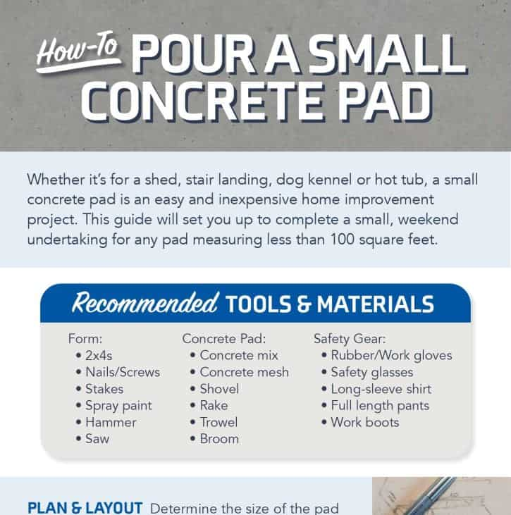 How to Pour a Small Concrete Pad infographic