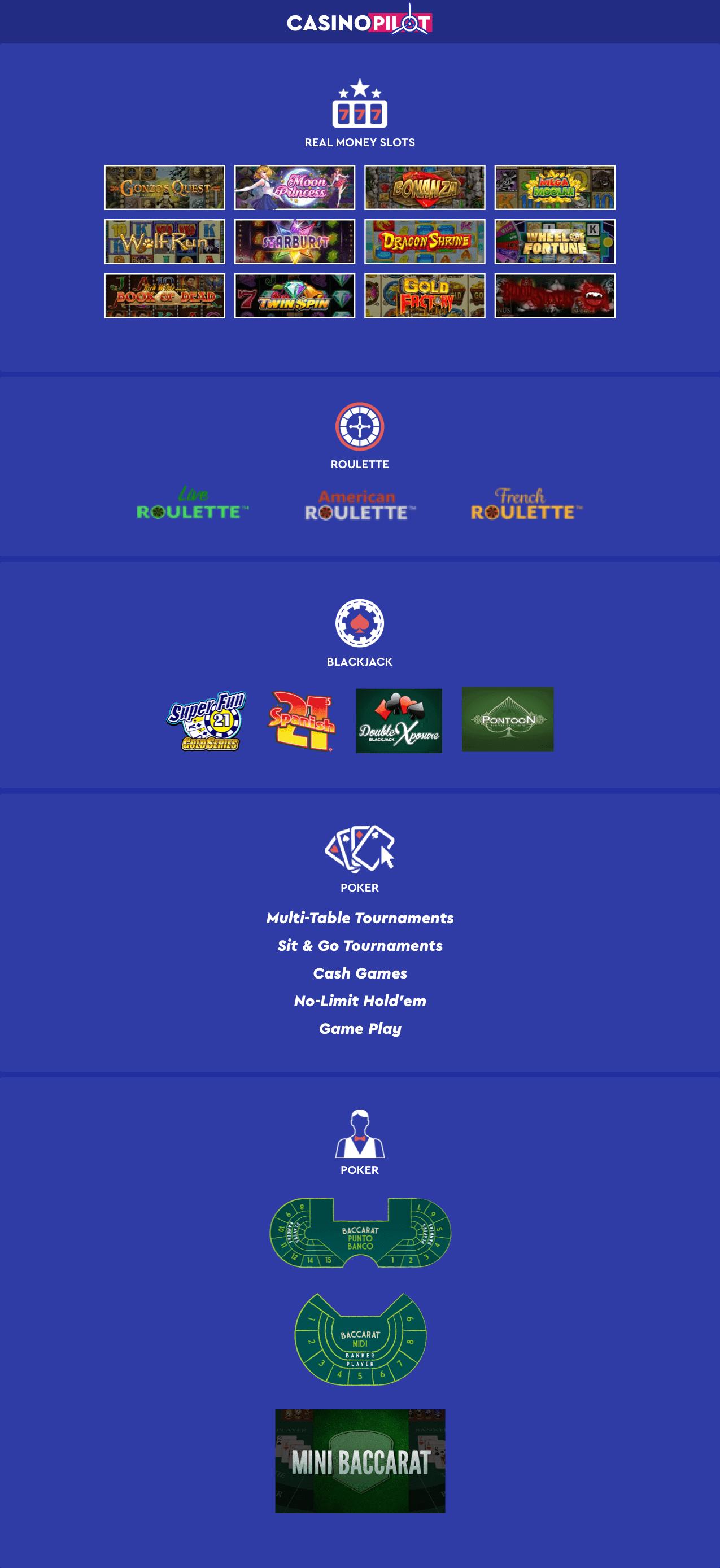 Games at real money casinos