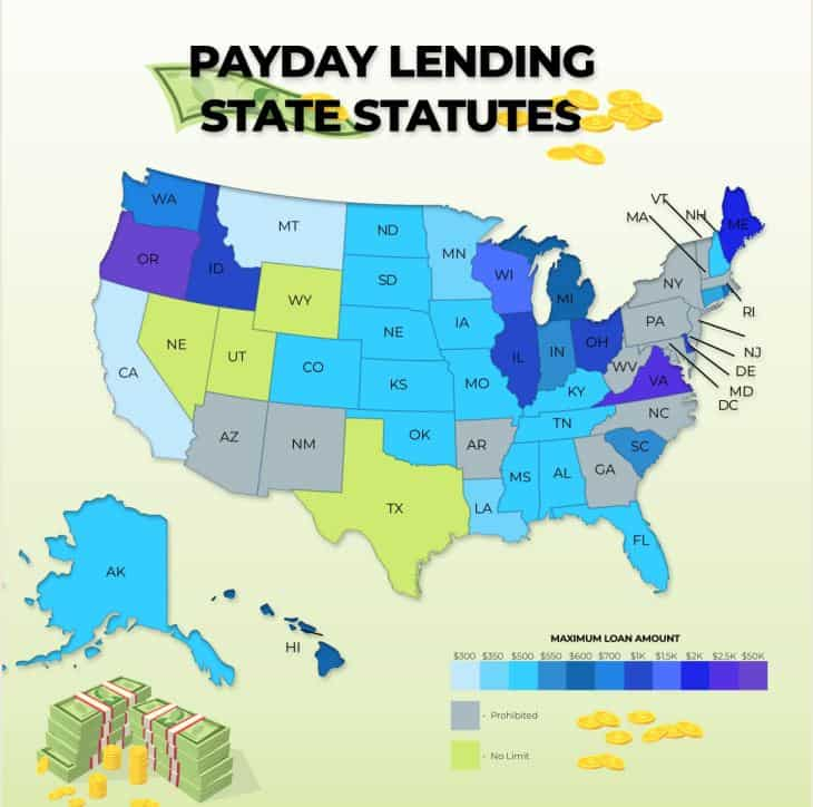 Payday Loans Maximum Amount by State of the United States infographic